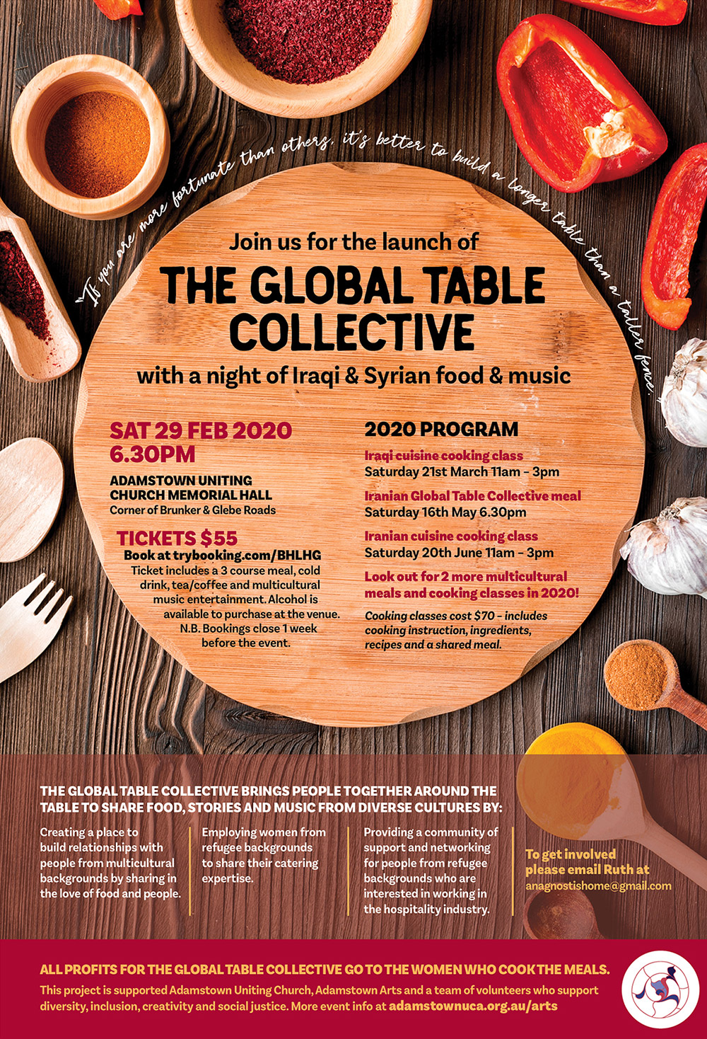 Global Table Collective flier – ingredients scattered around table