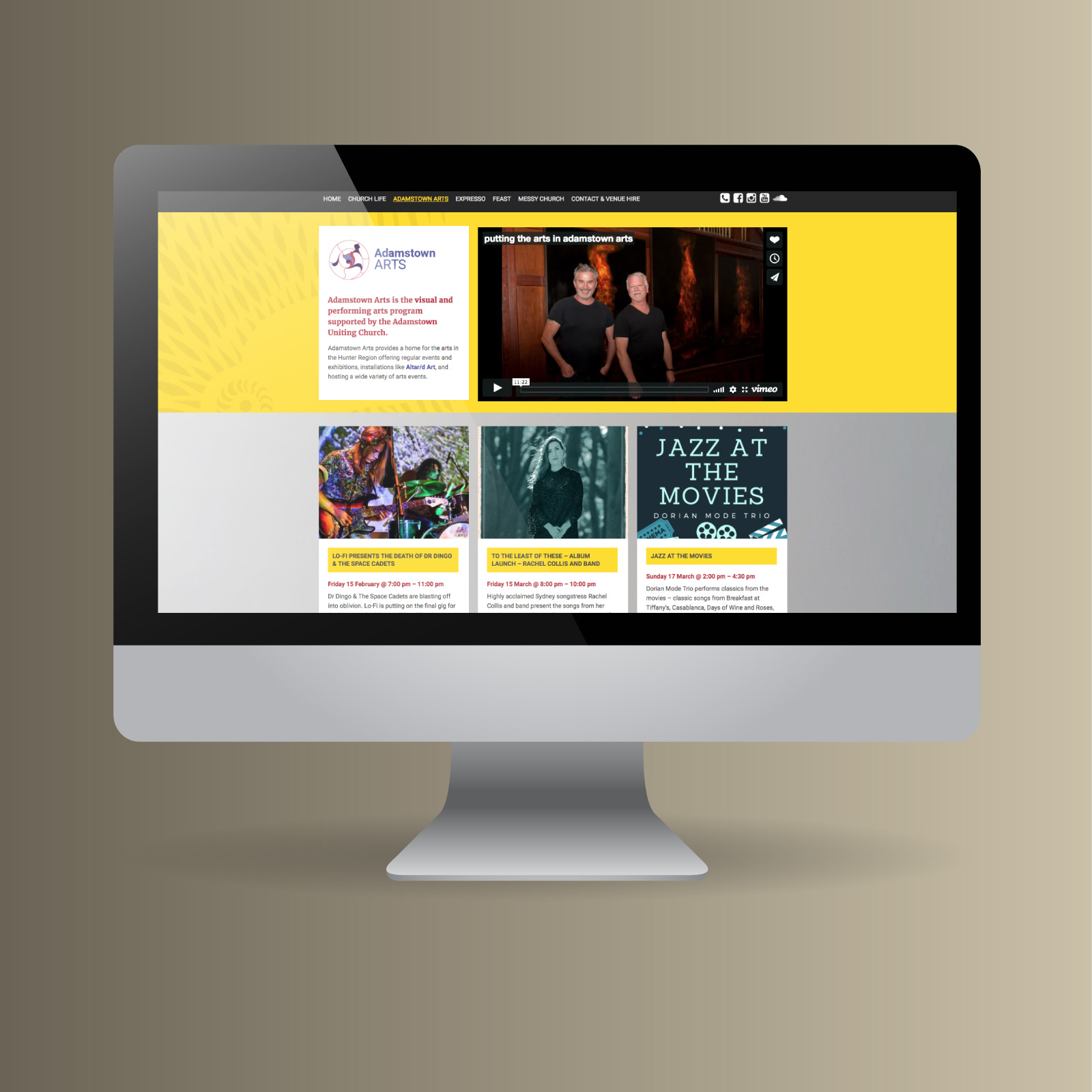 Adamstown Arts website on desktop