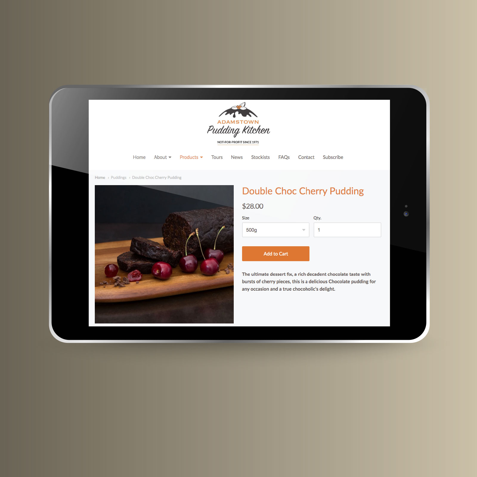 Adamstown Pudding Kitchen website on a tablet format