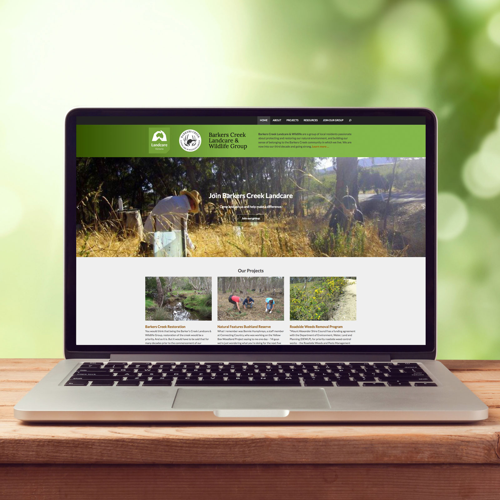 Barkers Creek Landcare website on a laptop