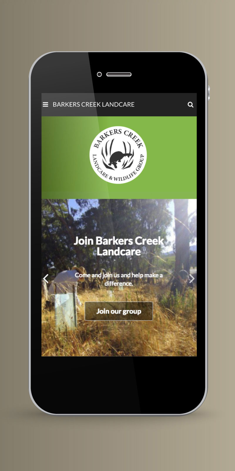 Barkers Creek Landcare website on a mobile