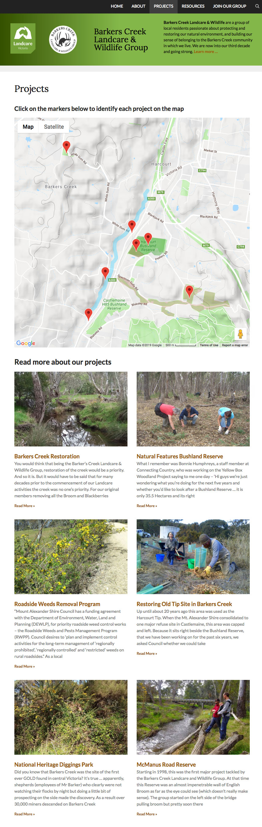 Screenshot of Barkers Creek Landcare Projects page