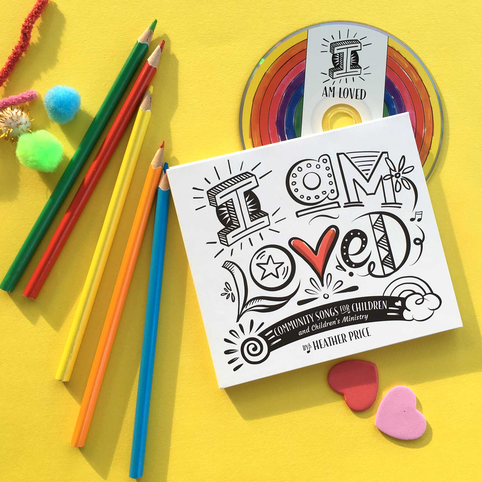 I am Loved album with pencils and craft
