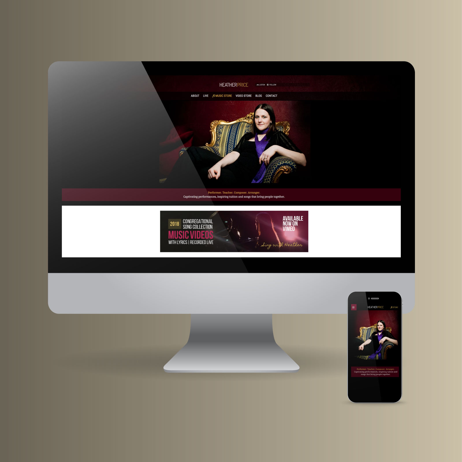 Heather Price website on Desktop computer and mobile