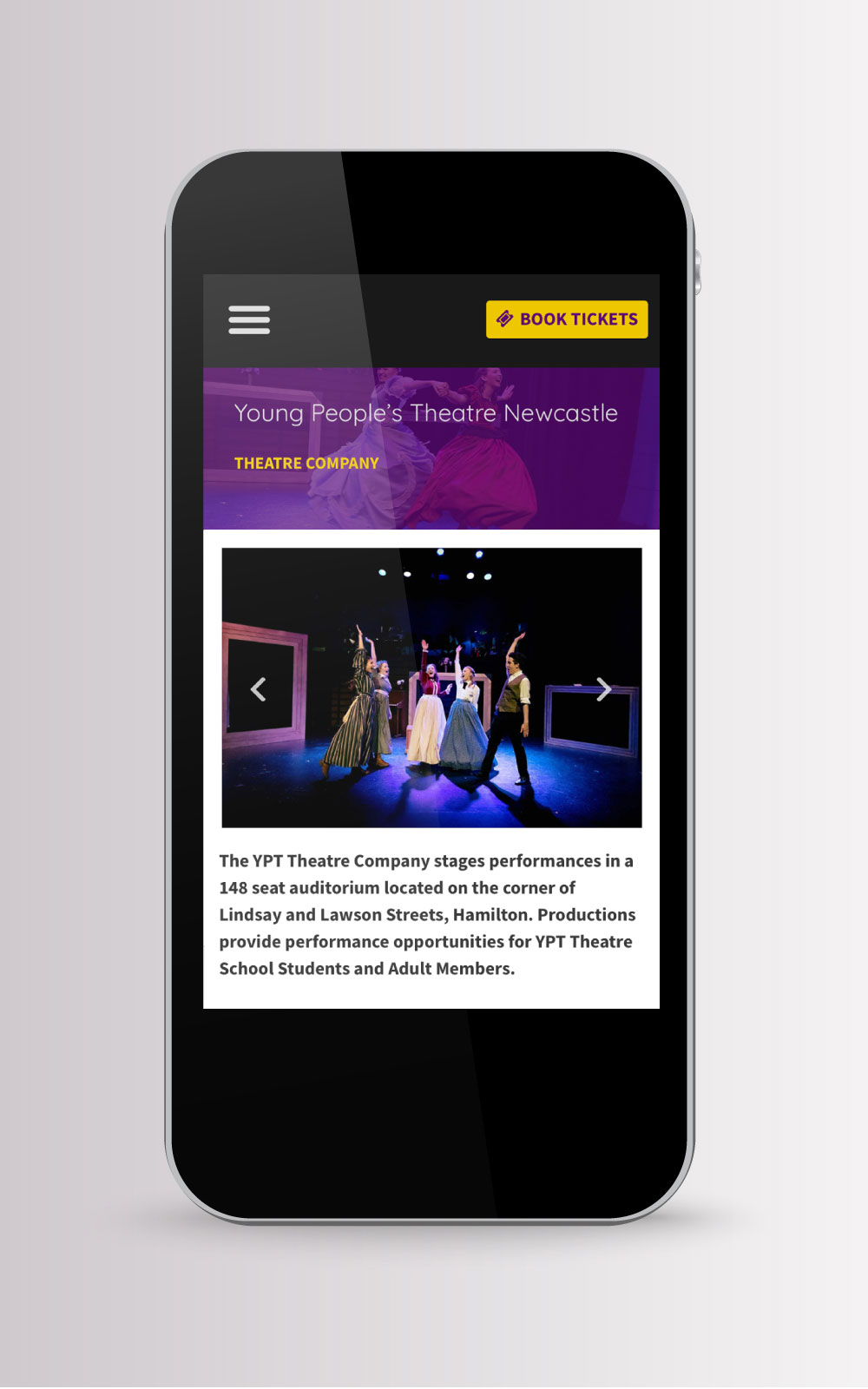Young People's Theatre website on mobile