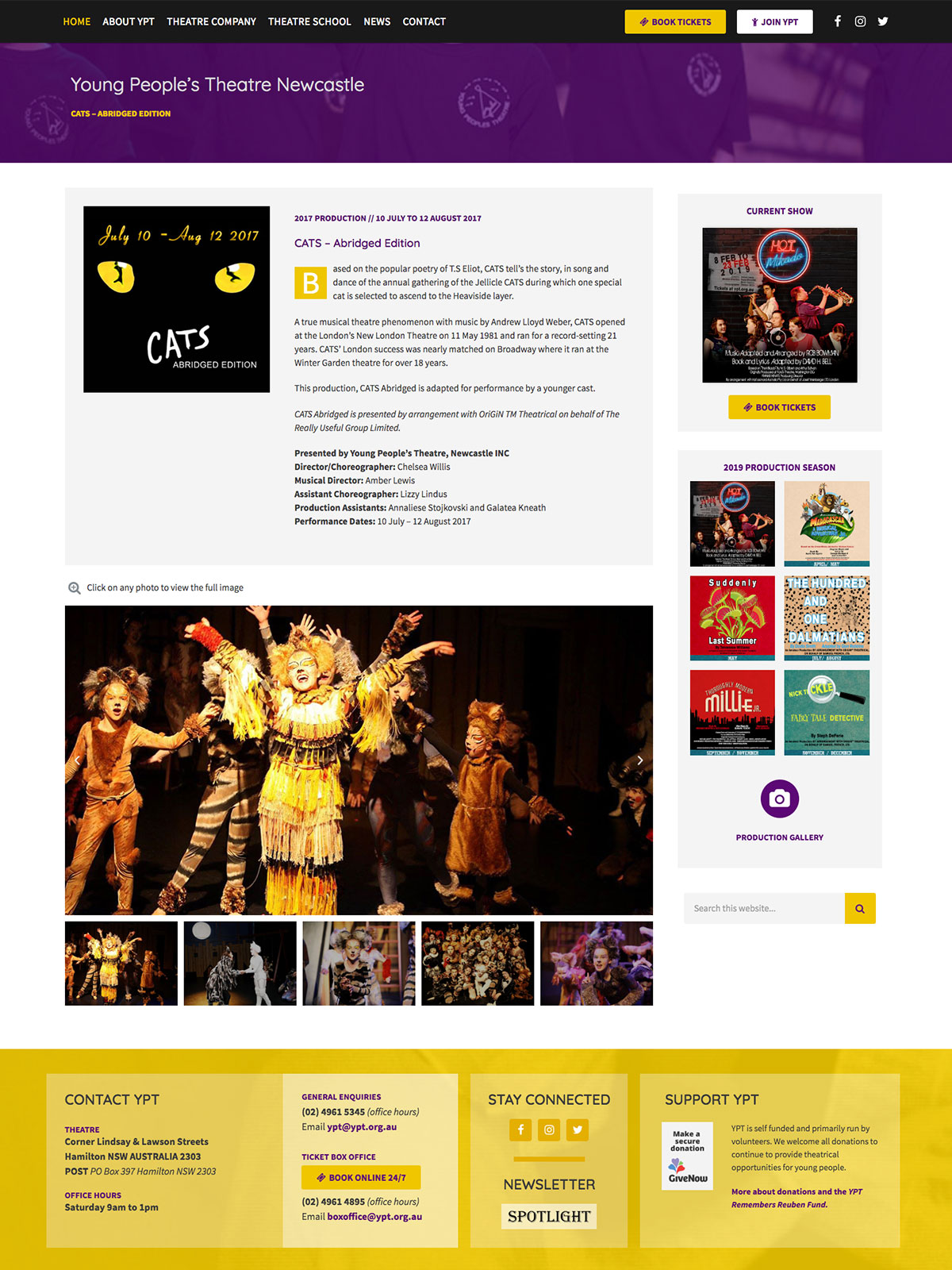 Screenshot of Young People's Theatre website on desktop