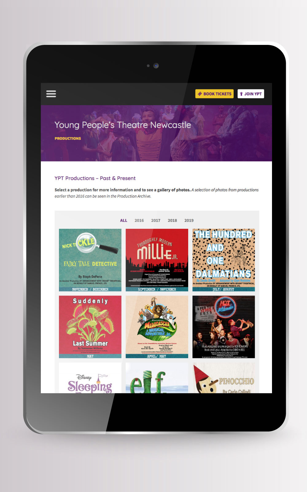 Young People's Theatre website on vertical tablet