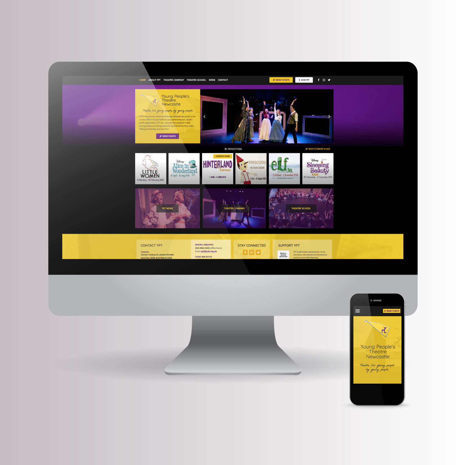 Young People's Theatre website on desktop