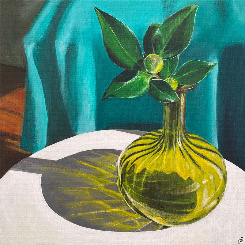 Still life painting of Camellia bud in retro coloured glass vase, casting reflections on a white table.